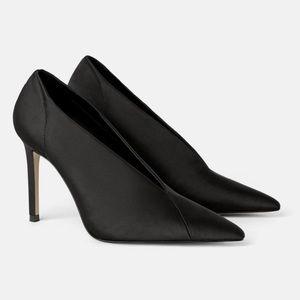Zara Satin V-Vamp Pointy Heels
